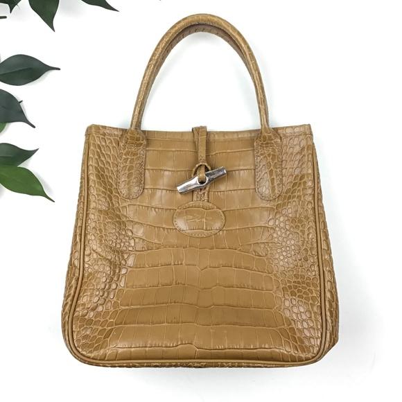 e3054d586220 Longchamp Handbags - Longchamp Roseau Croc Embossed Small Leather Tote